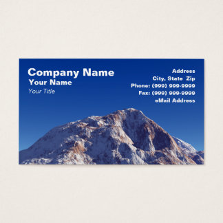3D Snow Covered Mountain Against Clear Blue Sky Business Card