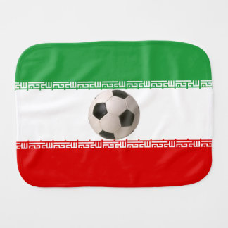 3D soccer ball red green white Iranian flag <br> T Baby Burp Cloth