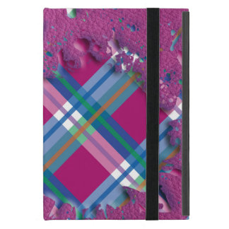 3D Splatter in Pink Checks on Pink Leather Texture Case For iPad Mini