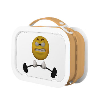 3d Style Emoticon lifting weights Lunch Box