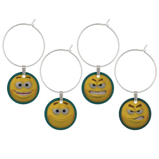 3D Style Emoticons Wine Charms
