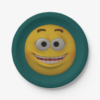 3D Style Smiley 2 Paper Plate