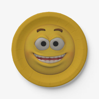 3D Style Smiley 3 Paper Plate
