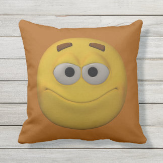 3D Style Smiley Throw Pillow