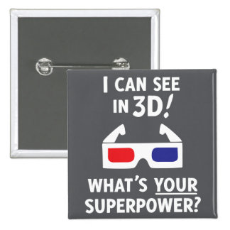 3D Superpower 2 Inch Square Button
