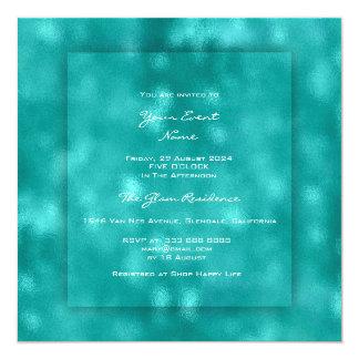 3D Teal Aquatic Tiffany Urban Beach Ocean Glass Card
