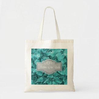 3D Teal Hydrangea Monogram Mother of the Bride Bag