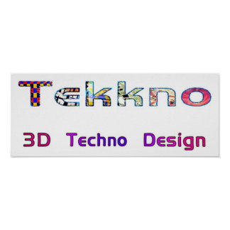 3d techno design 2d poster
