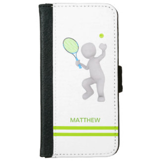3D Tennis Player Tennis Racket Ball Personalized iPhone 6 Wallet Case