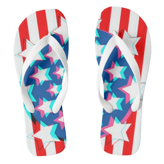 3D USA Flag Party Fourth Of July Flips Flip Flops