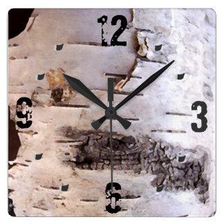 3D White Birch Bark Clock