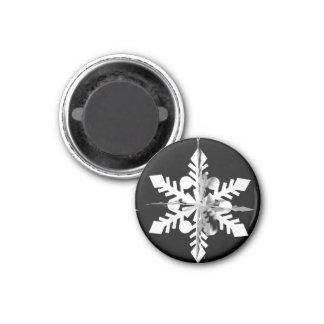 3D White Paper Snowflake Magnet