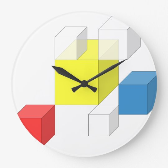 3D Yellow Red Square Block Brick Round Wall Clock