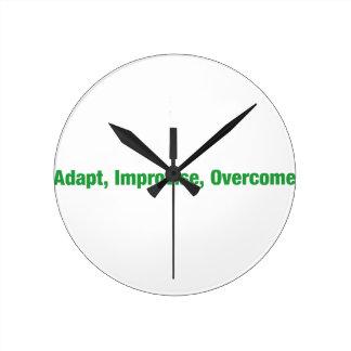 3D's - adapt, improvise, overcome Round Clock