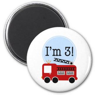 3ème Firetruck d'anniversaire Magnet Rond 8 Cm