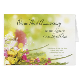 3rd Anniversary of Loss of Loved One's Death Greeting Card