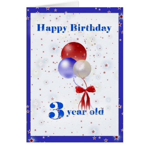 3rd Birthday Balloons Greeting Card
