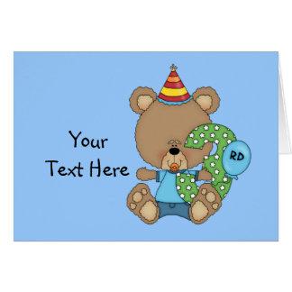 3rd Birthday Bear Boy (customizable) Greeting Card