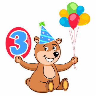 3rd Birthday Bear with Balloons Standing Photo Sculpture
