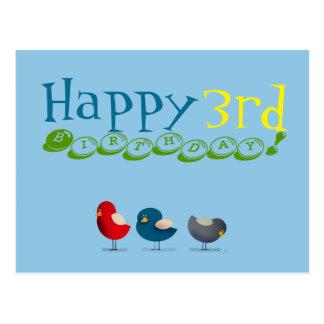 3rd Birthday Birds Cartoon Colorful Cute Baby Boy Postcard
