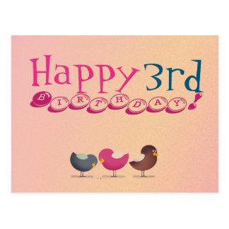 3rd Birthday Birds Cartoon Colorful Cute Baby Girl Postcard