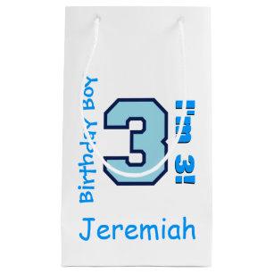 3rd Birthday Boy Blue Three Year Old Custom B3AZ Small Gift Bag