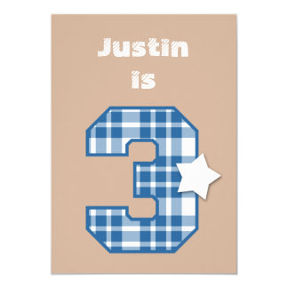 "3rd Birthday Boy Custom Name BLUE Plaid B03 5"" X 7"" Invitation Card"