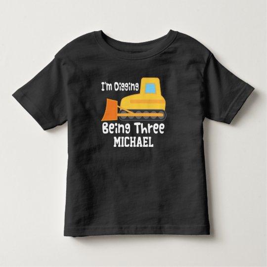 3rd Birthday Bulldozer Construction Truck T-shirt