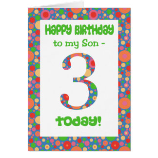 3rd Birthday Card for a Son, Bright and Bubbly