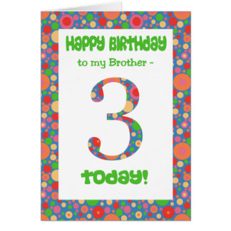 3rd Birthday Card for Brother, Bright and Bubbly