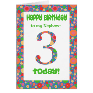 3rd Birthday Card for Nephew, Bright and Bubbly
