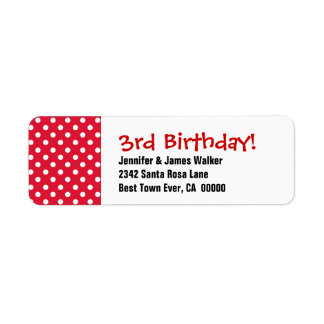 3rd Birthday Cute Polka Dot Pattern Return Address Label