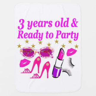 3RD BIRTHDAY DIVA DESIGN STROLLER BLANKETS