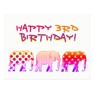 3rd Birthday Elephant Silhouette Cool Pattern Neon Postcard