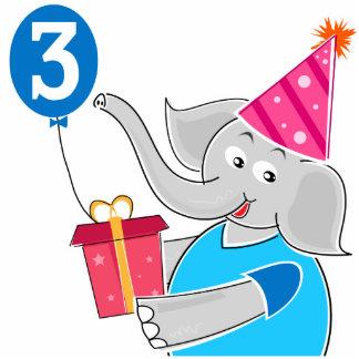 3rd Birthday Elephant Standing Photo Sculpture