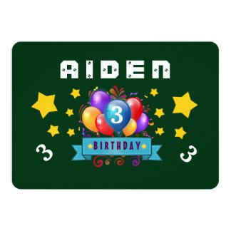 "3rd Birthday Festive Balloons and Stars B103 GREEN 5"" X 7"" Invitation Card"
