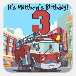 3rd Birthday Fire Truck Square Sticker
