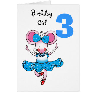 3rd birthday gift for a girl, cute ballerina card