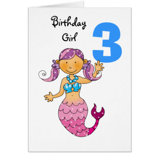 3rd birthday gift for a girl, cute mermaid greeting card