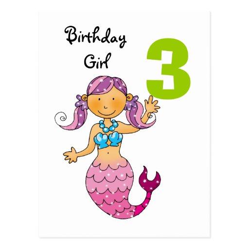 3rd birthday gift for a girl, cute mermaid postcard