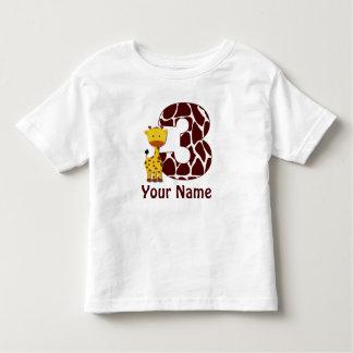3rd Birthday Giraffe Personalized T-shirt