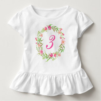 3rd Birthday Girl Watercolor Floral Wreath Toddler T-shirt