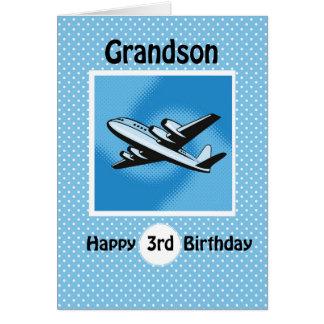 3rd Birthday, Grandson, Airplane on Blue Card