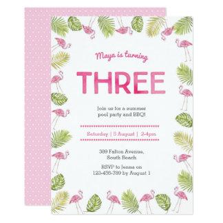 3rd Birthday Invitation | tropical flamingo