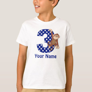 3rd Birthday Monkey Blue Personalized Shirt
