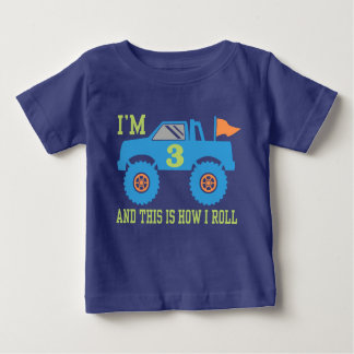 3rd Birthday Monster Truck Baby T-Shirt