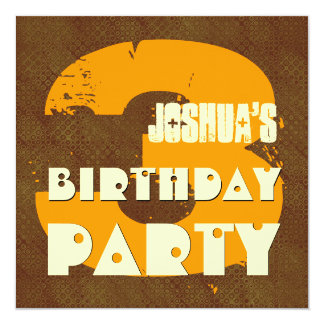 """3rd Birthday Party 3 Year Old Grunge Design 5.25"""" Square Invitation Card"""