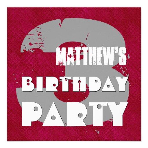 3rd Birthday Party 3 Year Old Grunge Design Custom Invites