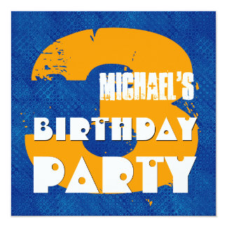 "3rd Birthday Party 3 Year Old Grunge Design 5.25"" Square Invitation Card"
