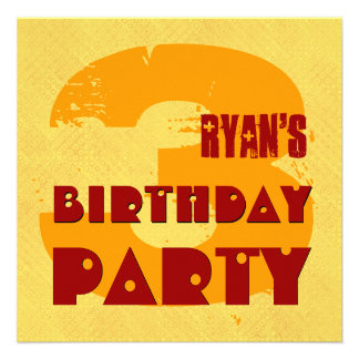 3rd Birthday Party 3 Year Old Grunge Design Invitation